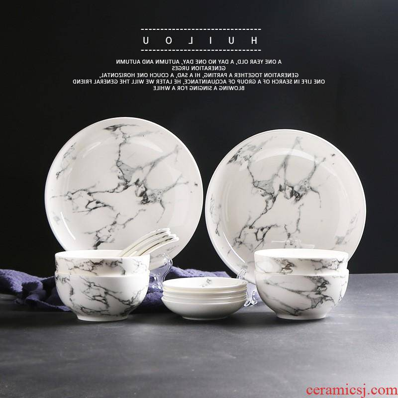 The creative kitchen marble hotel ceramic tableware bowls plates household custom round bowl dish plate manufacturers