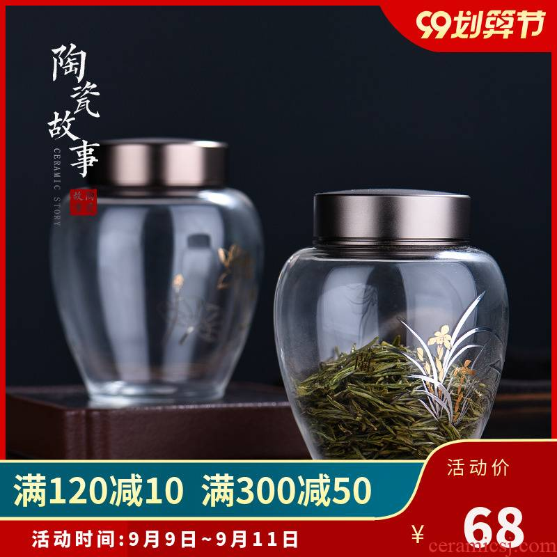 Ceramic story caddy fixings glass sealed as cans creative household moistureproof pot receives Chinese puer tea pot