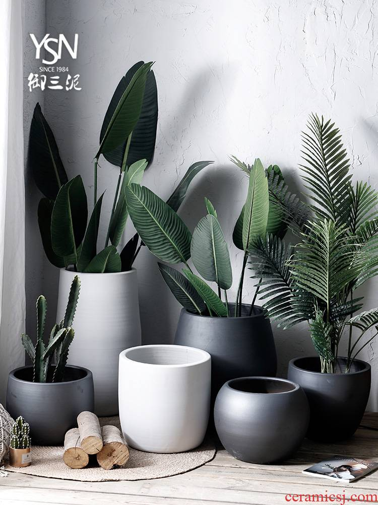Royal three Nordic I and contracted, ceramic flower pot flower bed mud inside and outside the high level of appearance sitting room put green plant plant POTS