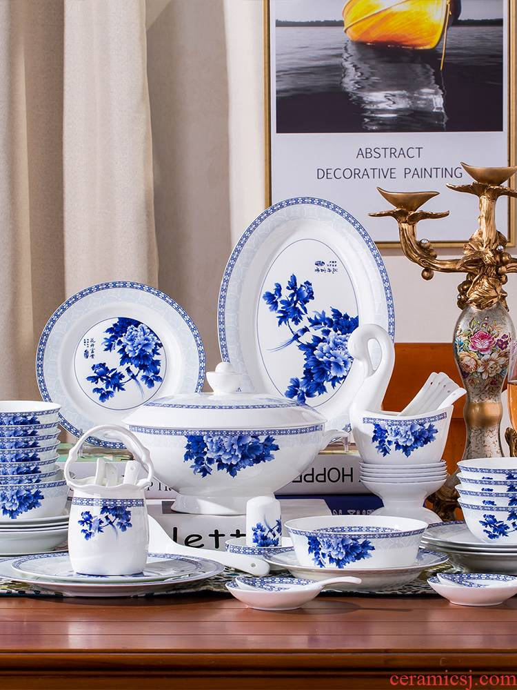 Blue and white porcelain tableware suit home dishes dishes suit contracted ipads porcelain of jingdezhen ceramic combination of Chinese style of eating the food