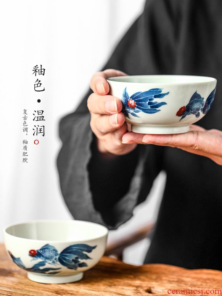 Jingdezhen blue and white youligong Lin Yuehong pure manual master cup single CPU hand - made goldfish kung fu tea cups. A single male