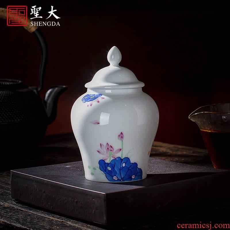 Holy big ceramic tea pot hand - made storage POTS manual jingdezhen blue and white color bucket lotus kung fu tea accessories