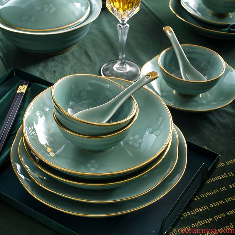 The dishes suit household of Chinese style up phnom penh high - grade dishes combination of jingdezhen ceramic celadon tableware suit wintersweet