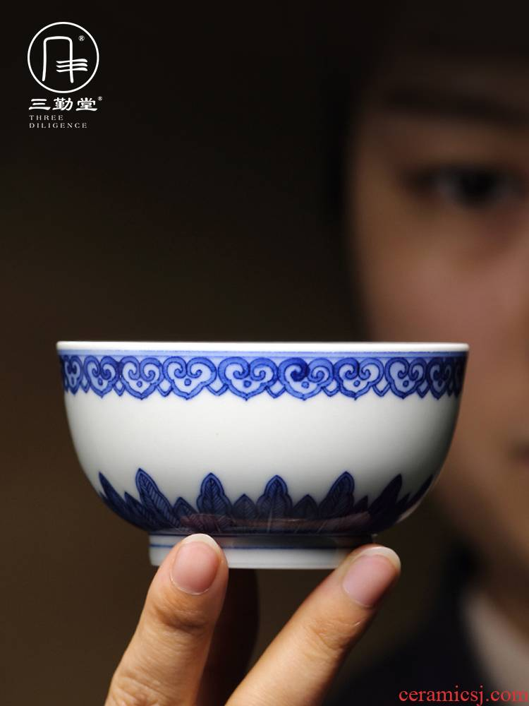 The three regular sample tea cup cup ceramic masters cup jingdezhen blue and white single CPU TZS284 kung fu tea set hand - made