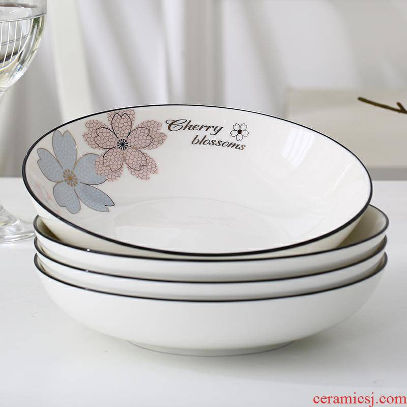 Disc plate suit household food dish ceramic plate 6/4 FanPan European square plate thickening more deepen plate