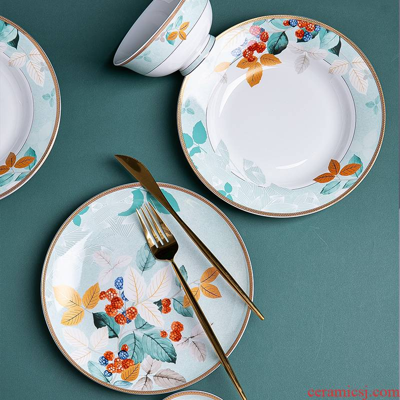 The dishes suit household Chinese jingdezhen ceramic tableware suit individuality creative ceramic dishes chopsticks combination