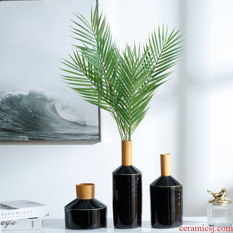 Creative vase furnishing articles table flower arranging contracted sitting room porch TV cabinet ceramic decorative flower implement light key-2 luxury bottles of fresh flowers