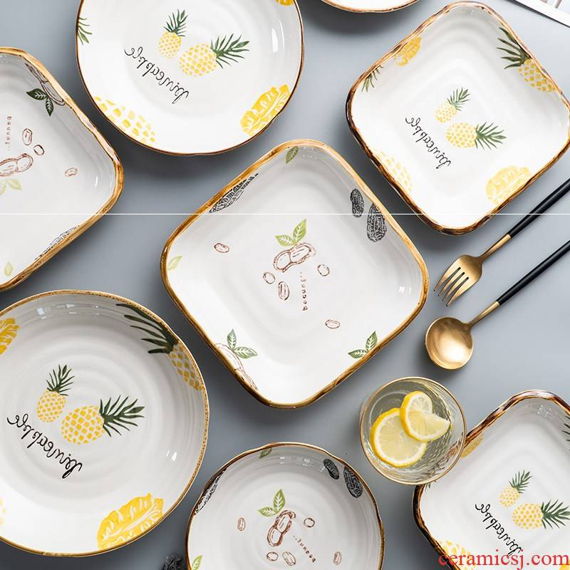Creative fruit bowl dish dish dish of household ceramic plate plate square web celebrity food dish Japanese - style tableware suit