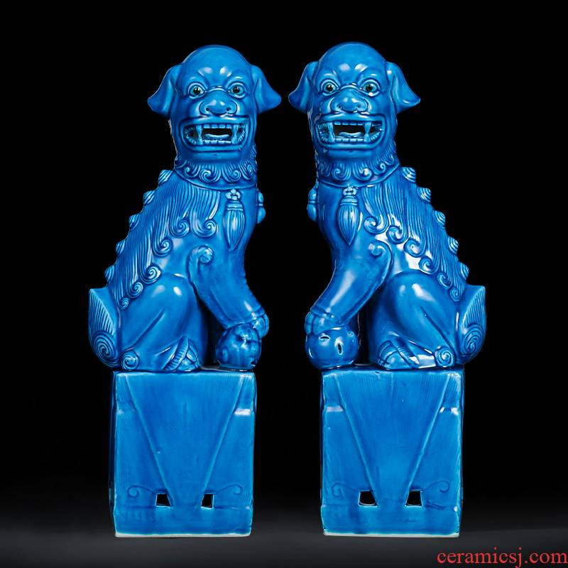 Jingdezhen ceramics slicing blue glaze lion a pair of large household craft jewelry classic nostalgic restoring ancient ways furnishing articles