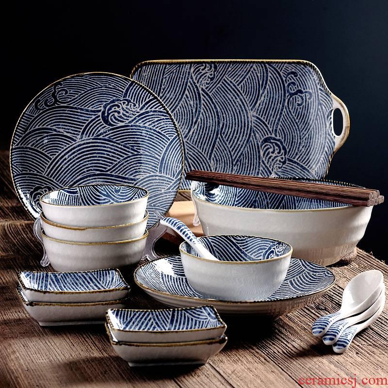 4 the hutch eat Japanese restoring ancient ways under glaze color porcelain tableware household food bowl plates spoon porcelain gift box sets