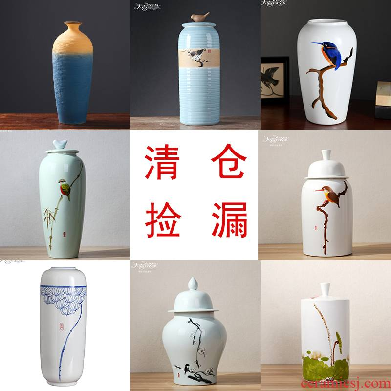 Dried flowers clearance rule mesa of new Chinese style ceramic vase water raise flowers sitting room household flower adornment furnishing articles