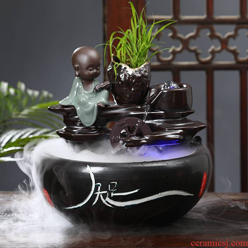 Ceramic creative water fountain place feng shui plutus goldfish bowl office furniture of I sitting room aquarium furnishing articles