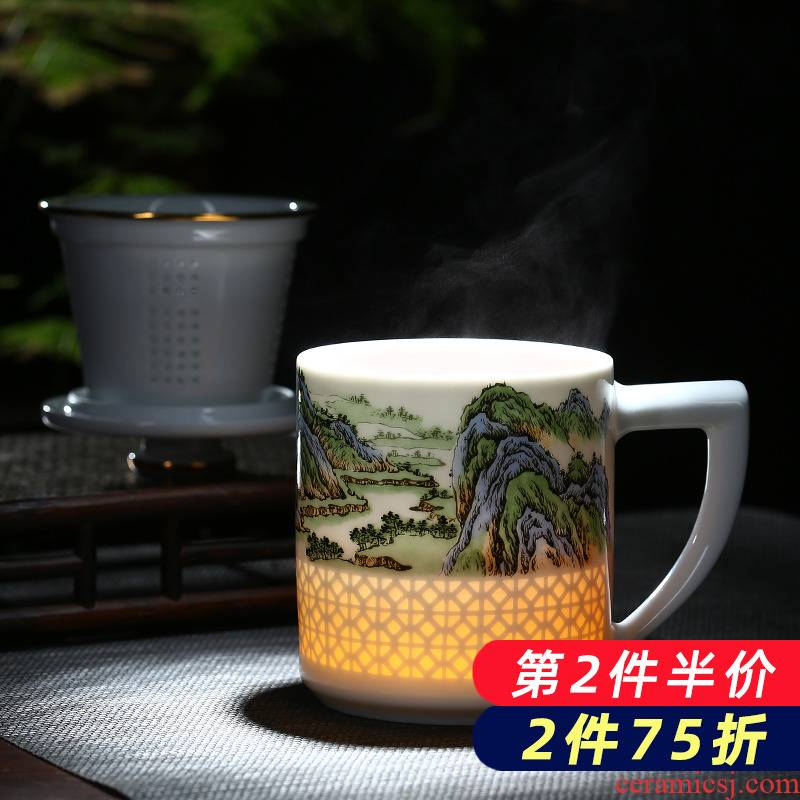 Jingdezhen porcelain and exquisite originality ceramic cup with cover the tank filter home office study large cups