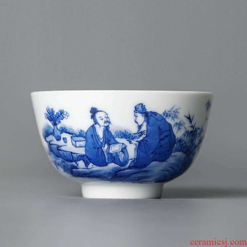 Jingdezhen blue and white master cup single cup large pure manual hand - made sample tea cup single white porcelain character kung fu tea cups