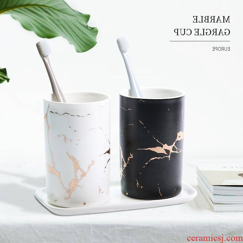 The kitchen creative Jin Dali stone couples gargle cup toothbrush wash gargle cup ins ceramic cup northern wind household