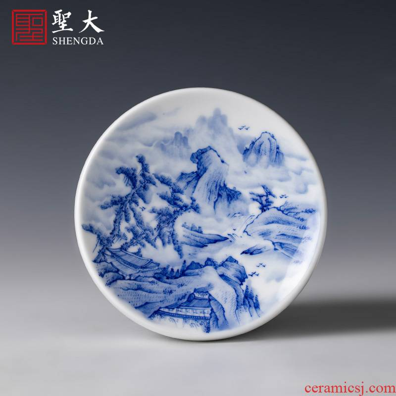 The big ceramic cover buy blue and white landscape of pure hand - made details cover jingdezhen pure manual kung fu tea set spare parts
