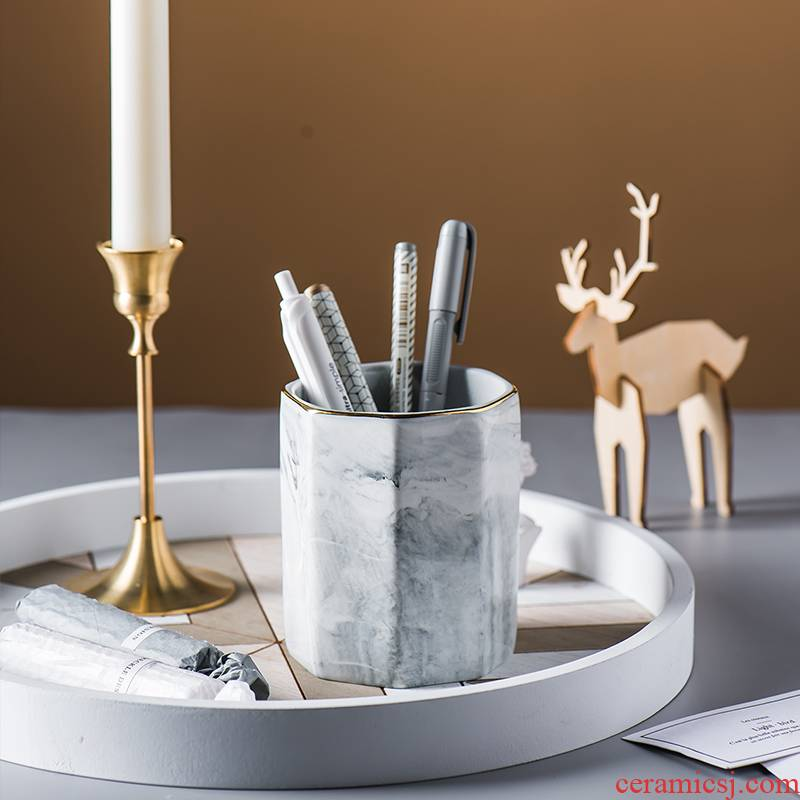 Northern wind ins marble eight border up phnom penh ceramic cup brush pot place other people receive cylinder tank water cup home furnishing articles