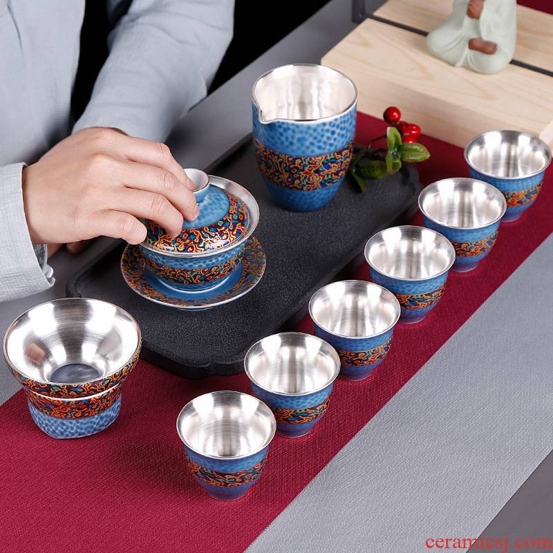 Coppering. As silver cup teapot household kung fu tea set ceramic cup sitting room office 6 Chinese style restoring ancient ways