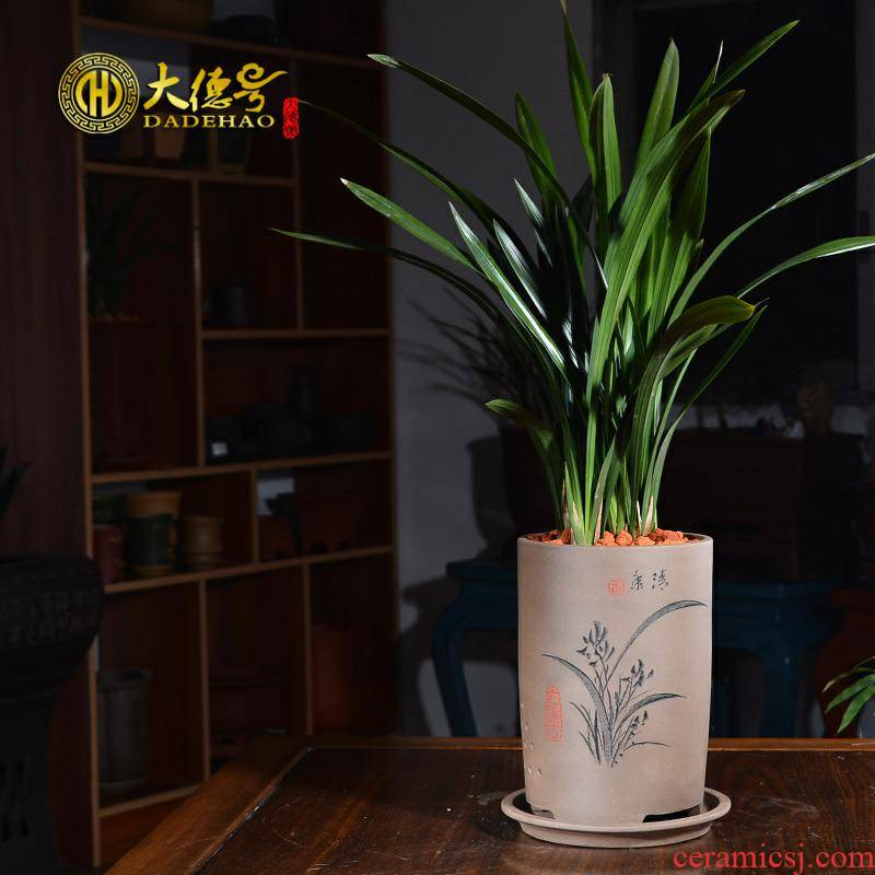 Yixing purple orchid basin carved painting bracketplant bonsai indoor potted tiger orchid special pot clivia ceramic flower pot
