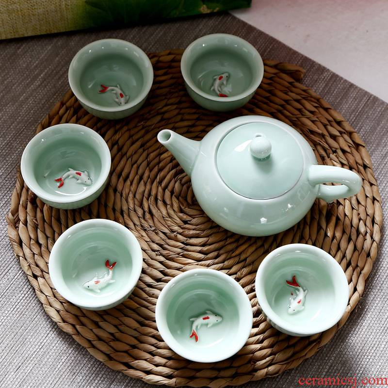 Celadon tea sets suit creative gift dehua kung fu tea cups fish small glass ceramic teapot with gift box