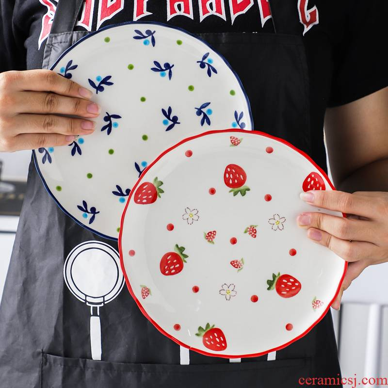 Hand draw express strawberry ceramic plate breakfast steak plate plate web celebrity love nice food dish creative dishes