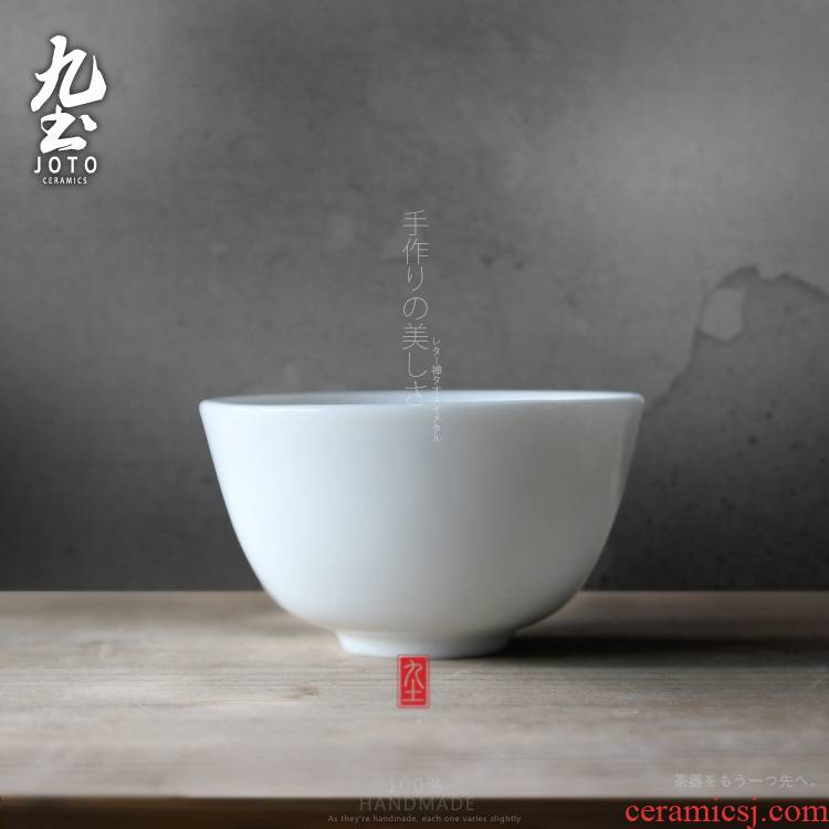 Nine white hand jingdezhen high white glazed ceramic cups kung fu small soil sample tea cup tea with cups of tea cups