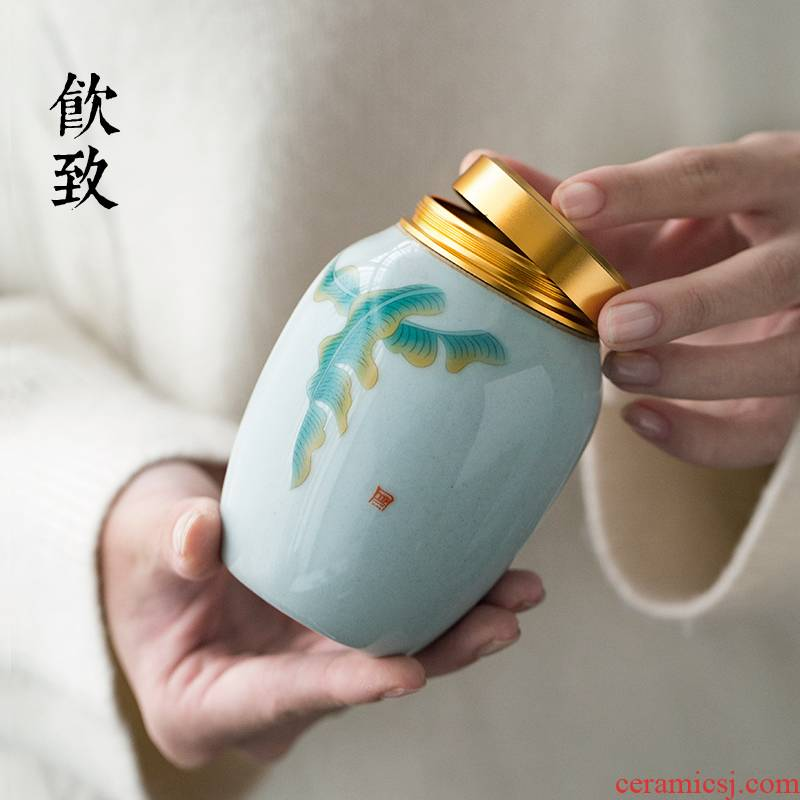 Ultimately responds to tea pot ceramic seal small creative warehouse household receives awake holding tank storage Japanese tea caddy fixings