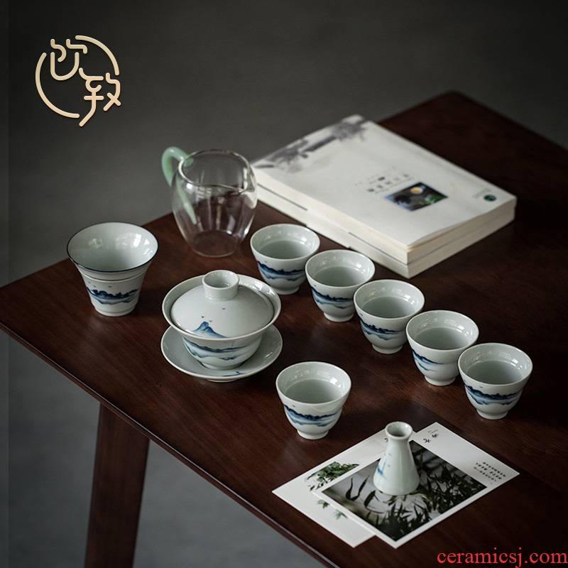 Ultimately responds contracted kung fu tea set to suit Japanese blue and white tea tureen hand - made ceramic cups home sitting room office