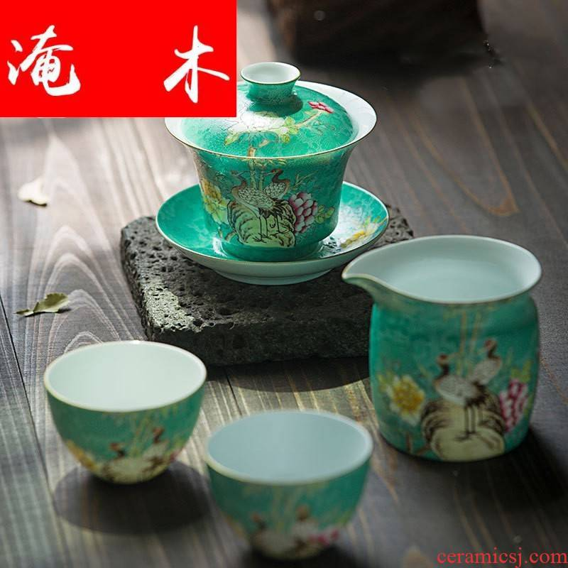 Submerged wood capacity up pick flowers pastel tureen jingdezhen ceramic cups hand - made fair keller kung fu tea set