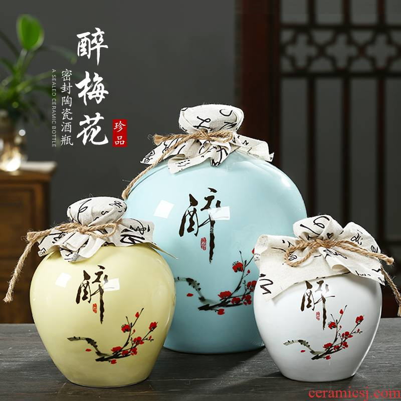 Jingdezhen ceramic jar empty wine bottles of household hip bottle wine liquor bottle seal 10 jins 5 jins of 3 kg