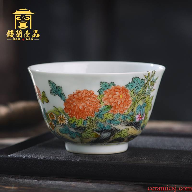 All hand - made pastel by master cup of jingdezhen ceramics from kung fu tea, tea cup large household single CPU