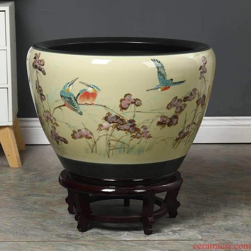 Jingdezhen ceramic goldfish bowl courtyard tank fish balcony cylinder home sitting room aquarium turtle pond lily lotus basin