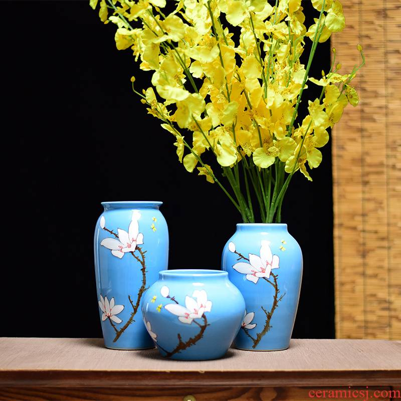 Jingdezhen ceramic vases, three - piece suit of new Chinese style household decorations furnishing articles household flower arranging dried flowers of modern living room