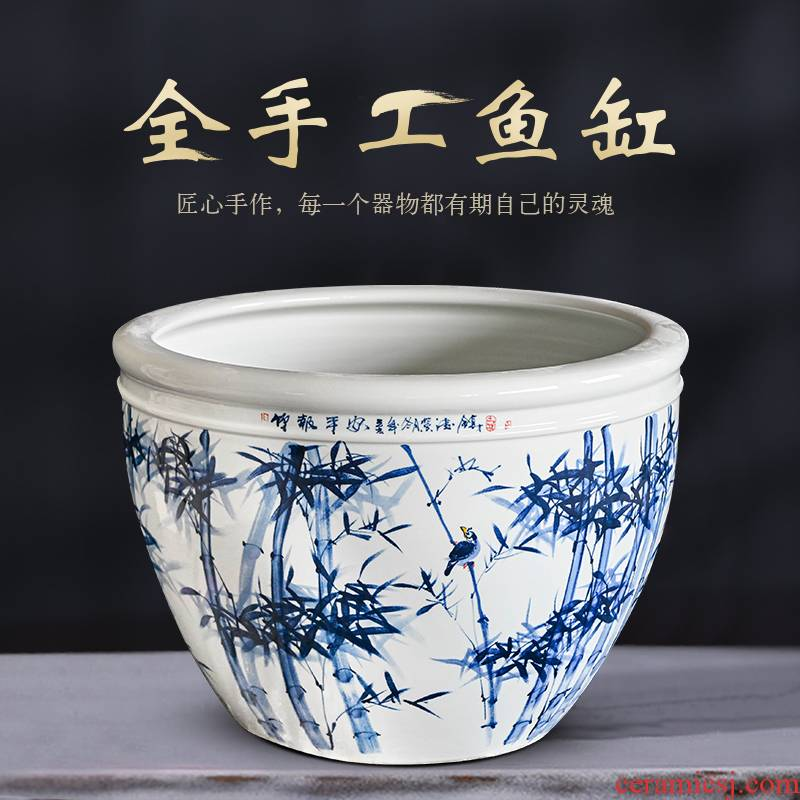 Heavy packages mailed jingdezhen ceramic aquarium raising goldfish bowl basin tortoise cylinder household adornment the lotus pond lily cylinder