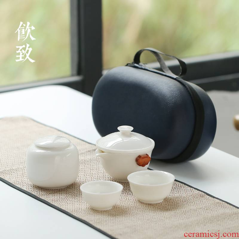 Ultimately responds white jade porcelain zen to crack a cup a pot of two cups of portable is suing travel tea set kunfu tea with you