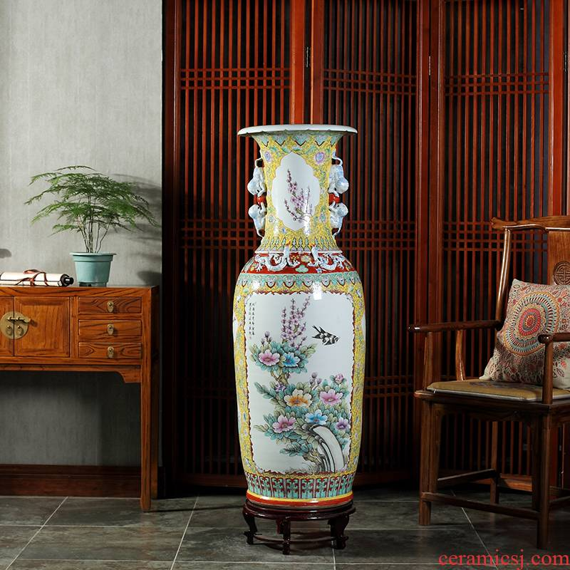 Jingdezhen hand - made pastel imitation antique ceramics large sitting room decorate the study of large vase collection furnishing articles