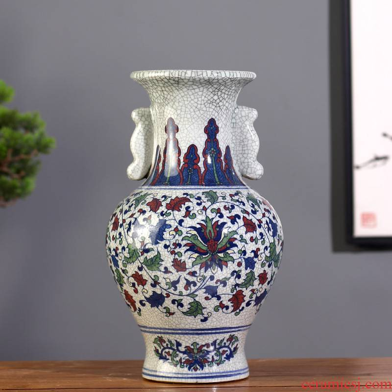 Archaize of jingdezhen ceramics up porcelain colorful flower vase ice crack Chinese style household adornment furnishing articles