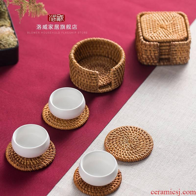 Autumn the cane top service up cup mat mat cup one suit insulation pad a pot of tea tea set iron pot pad are it