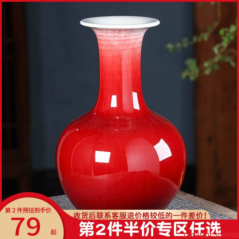Jingdezhen ceramics ruby red vase flower arranging new Chinese style household furnishing articles, the sitting room porch TV ark, large adornment