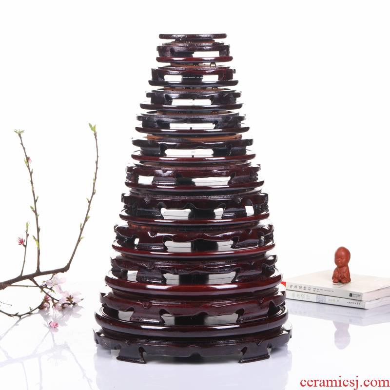 Jingdezhen ceramic vases, wooden base tank base tray rotation