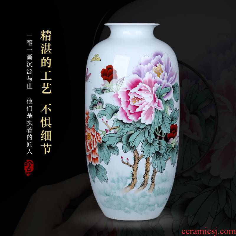 Hand - made ceramic vase peony furnishing articles 50 cm high com.lowagie.text.paragraph large living room TV cabinet type decorative flower vases