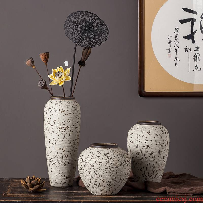 Jingdezhen ceramic vase furnishing articles of I and contracted sitting room porch mesa Chinese style restoring ancient ways zen dried flowers flower arrangement