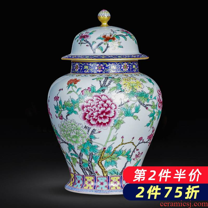 Jingdezhen ceramics large caddy fixings archaize colored enamel high - capacity storage tank tea home decoration