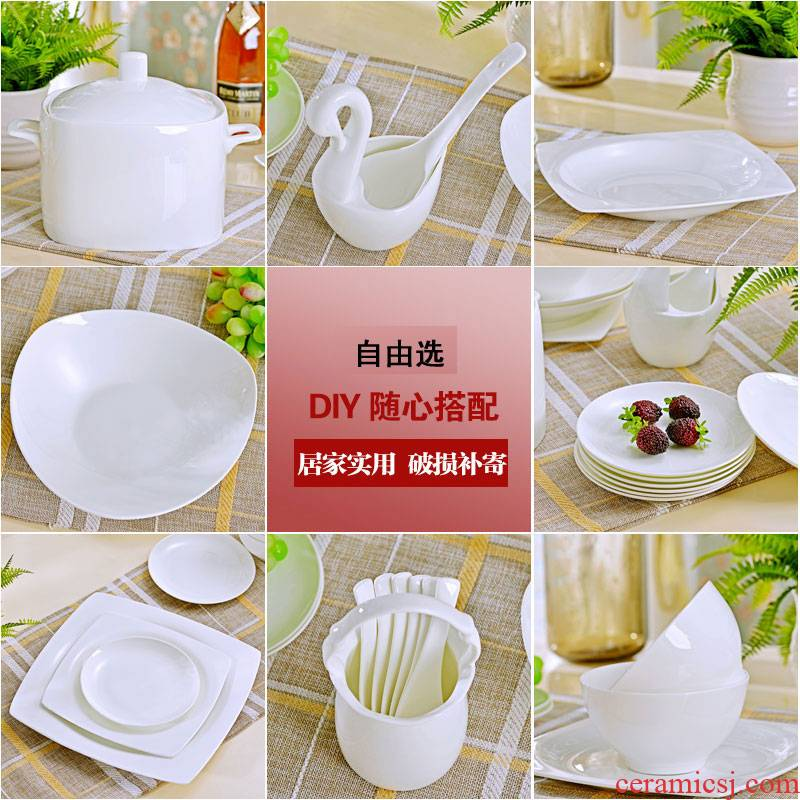 Jingdezhen ceramic tableware household jobs rainbow such as bowl of the big flat dishes chopsticks DIY combination suit western - style food plate