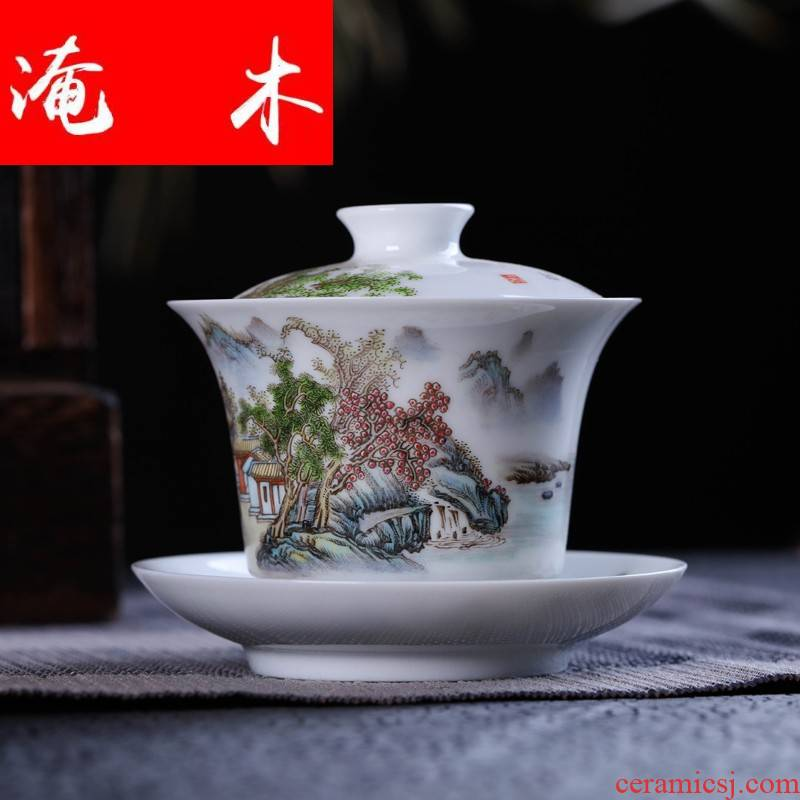 Submerged wood Jin Hongxia manual tureen tea exchanger with the ceramics jingdezhen porcelain tea set three cup hand - made famille rose bowl