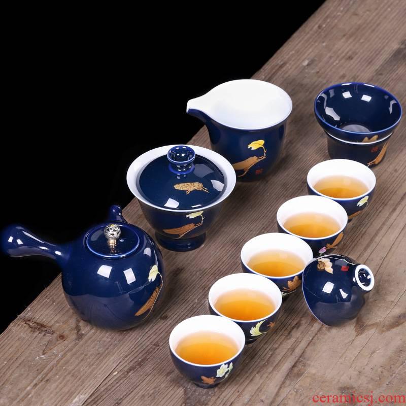 Kung fu tea set tea home office of jingdezhen ceramic creative tureen teapot teacup high - end gift box