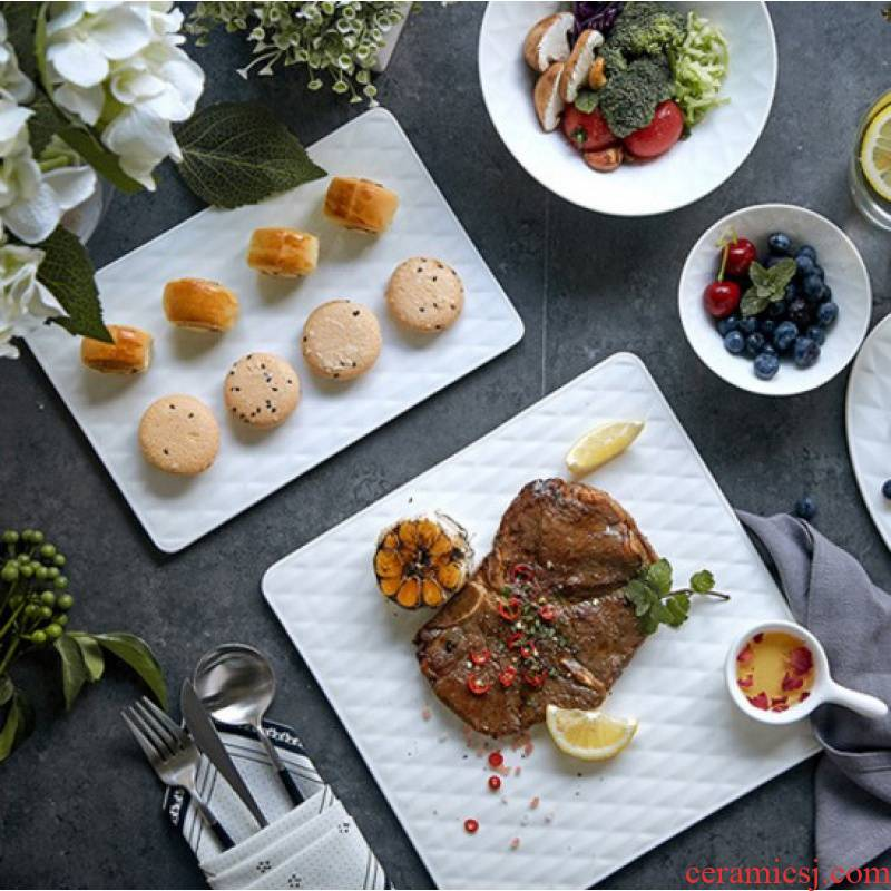 North European style simple western dishes black diamond new ipads porcelain steak snack plate plate plate ceramic plates