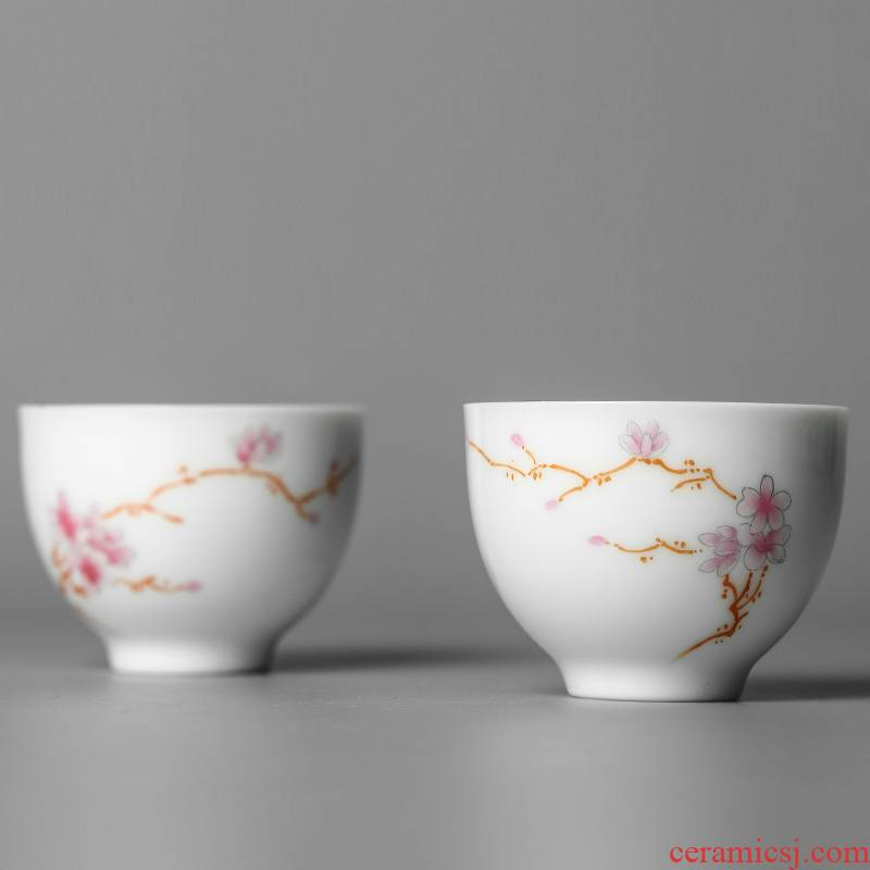 Master kung fu tea cup single cup pure manual jingdezhen porcelain sample tea cup single hand - made demand fragrance - smelling cup