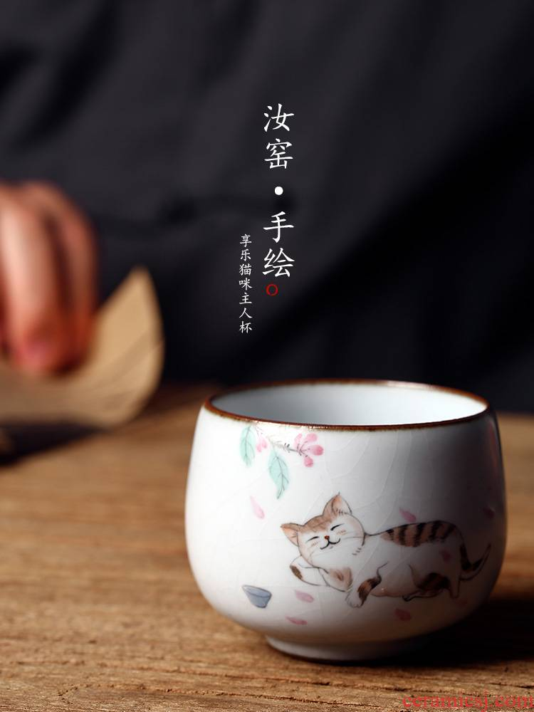 Jingdezhen ceramic sample tea cup master cup single CPU female hand - made teacup from pure manual your up cat tea sets