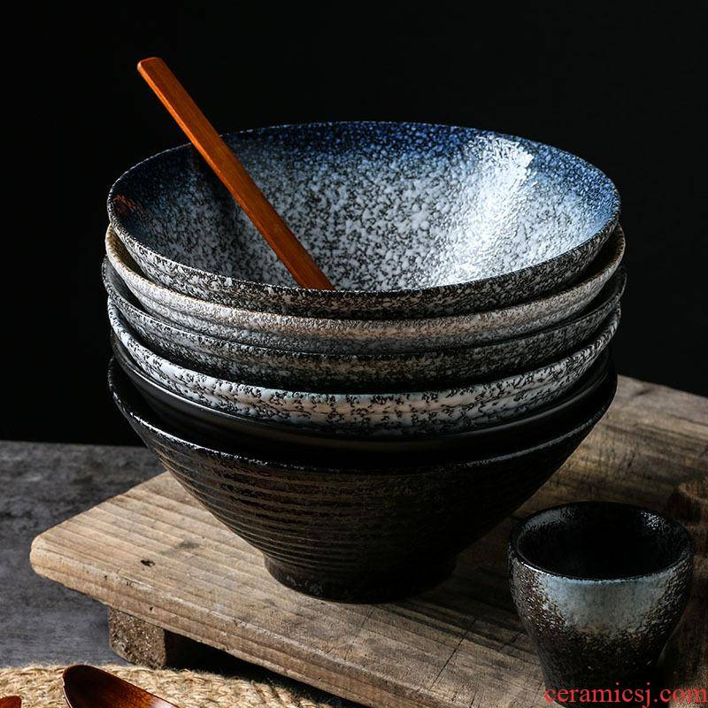 Japanese household large ceramic bowl pull rainbow such as bowl bowl bowl creative dishes tableware suit ltd. hat to bowl